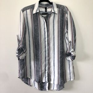 Kut from the Kloth Distressed Striped Button Accent Shirt Top Blouse